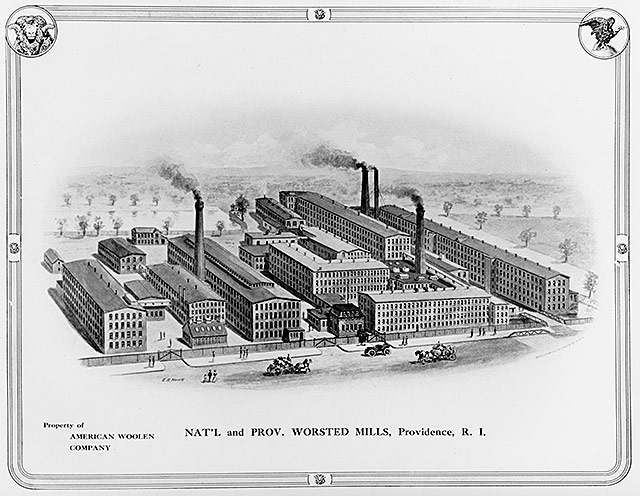 Engraving of the Nat'l and Prov. Worsted Mills, part of the American Woolen Company